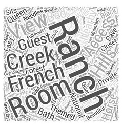 French creek ranch word cloud concept vector