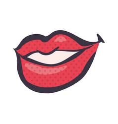 sexy lips comic pop art vector image