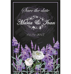 invitation with lavender and peony on chalkboard vector image