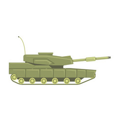 Military tank with cannon military combat vehicle vector