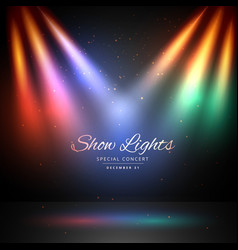 Stage with colorful lights background vector