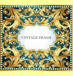 blue background with gold pattern and precious vector image