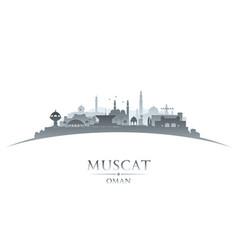 Muscat oman city skyline silhouette white vector