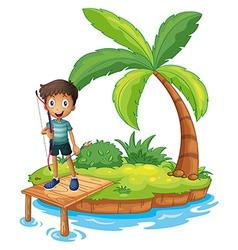 An island with a boy holding an archery vector image