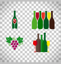 wine logo with grape set vector image