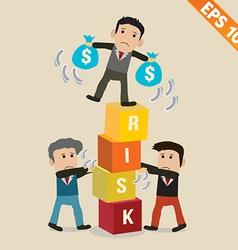 Cartoon businessman with risk management concept - vector