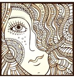 Decorative hair girl monochrome vector