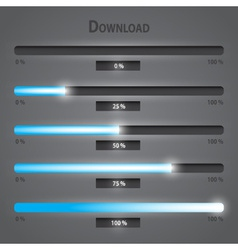Blue lights internet download bars set eps10 vector