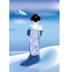 Winter geisha vector image