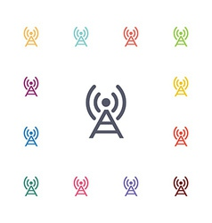 Antenna flat icons set vector