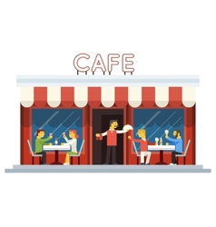 Cafe building facade customer people eating vector