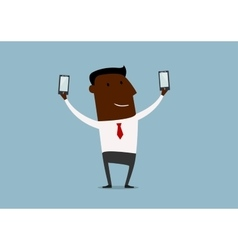 Black businessman making double selfie vector