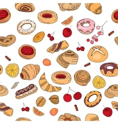 Seamless pattern with different pastry different vector
