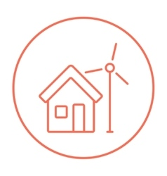 House with windmill line icon vector