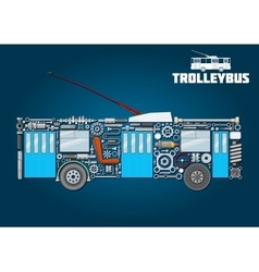 Trolleybus icon of detailed main components vector