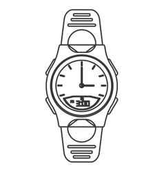 Modern analog watch icon line design vector