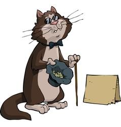 a blind beggar cat vector image vector image
