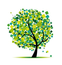 Abstract green tree vector image vector image