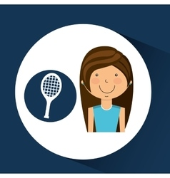Athlete girl racket tennis sport style vector
