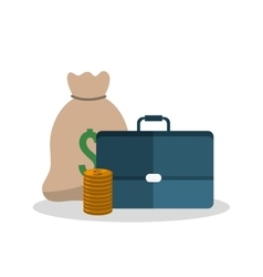 Bag coins and suitcase design vector