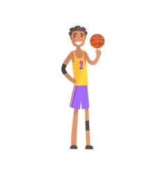 Basketball player turning ball on a finger action vector