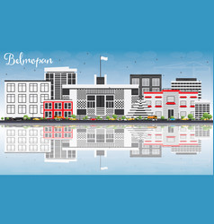 belmopan skyline with gray buildings blue sky vector image