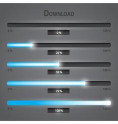 Blue lights internet download bars set eps10 vector