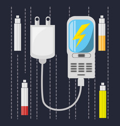 cellphone with power cable to charge the battery vector image vector image