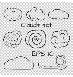 clouds set line icons vector image vector image