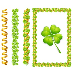 clover leaves and gold ribbons vector image vector image