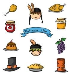 Doodle of element thanksgiving cartoon vector