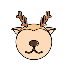 drawing deer face animal vector image
