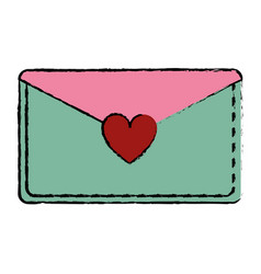 Drawing pink and green email envelope message love vector
