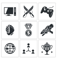 Esports icons set vector