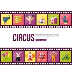 Film strips and circus entertainment icons set vector