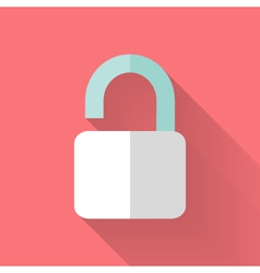 Flat open padlock icon over pink vector
