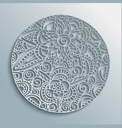 Flower mandala paper cut handmade decoration vector