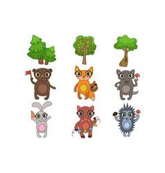 Friendly forest animals set vector