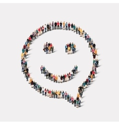 Group people shape chat bubbles smile vector