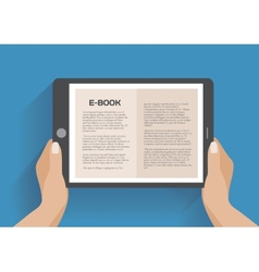 Hands holding electronic book vector