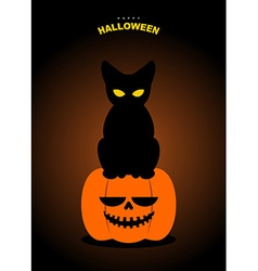 Happy Halloween Black cat sits on pumpkin at night vector image vector image