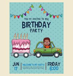 kids birthday invitation card vector image