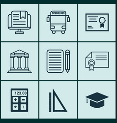 set of 9 education icons includes home work vector image vector image