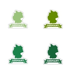 Set of paper stickers on white background Germany vector image