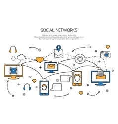Social network outline concept of communication vector