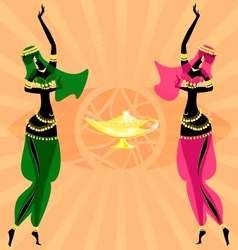 two oriental dancing girls vector image