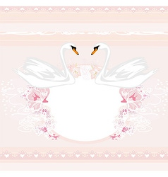 Wedding card with two romantic swans vector image vector image