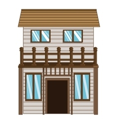 Wooden house icon vector