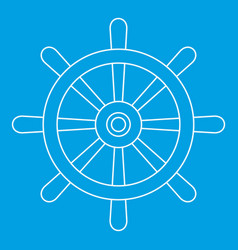 wooden ship wheel icon outline vector image vector image