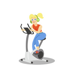 young woman in headphones training on an exercise vector image